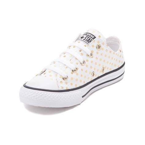 fba965f1aa9463 Converse Ox White   Gold Polka Dot Canvas Sneakers
