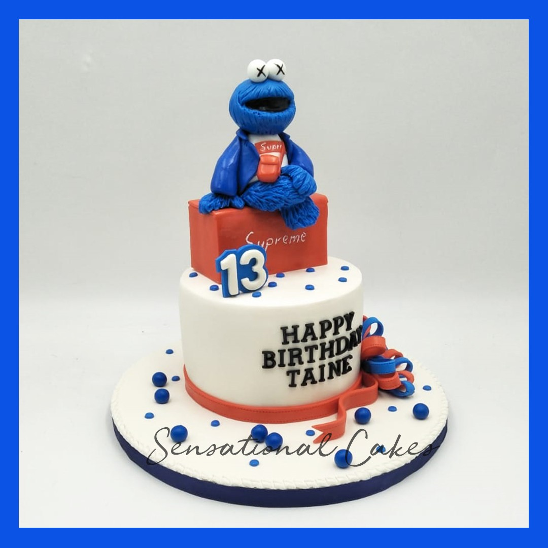 Cookie Monster Supreme Theme Design Children Boy Birthday 3d Cake