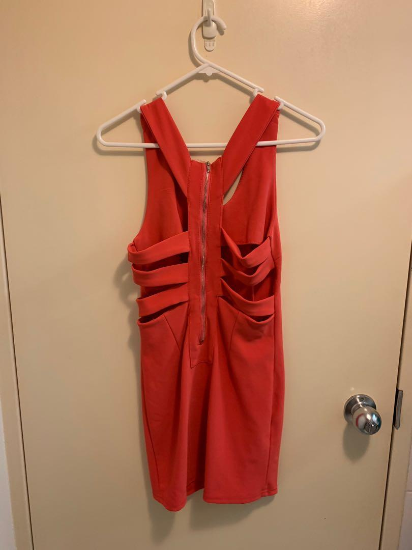 Coral dress with cut outs