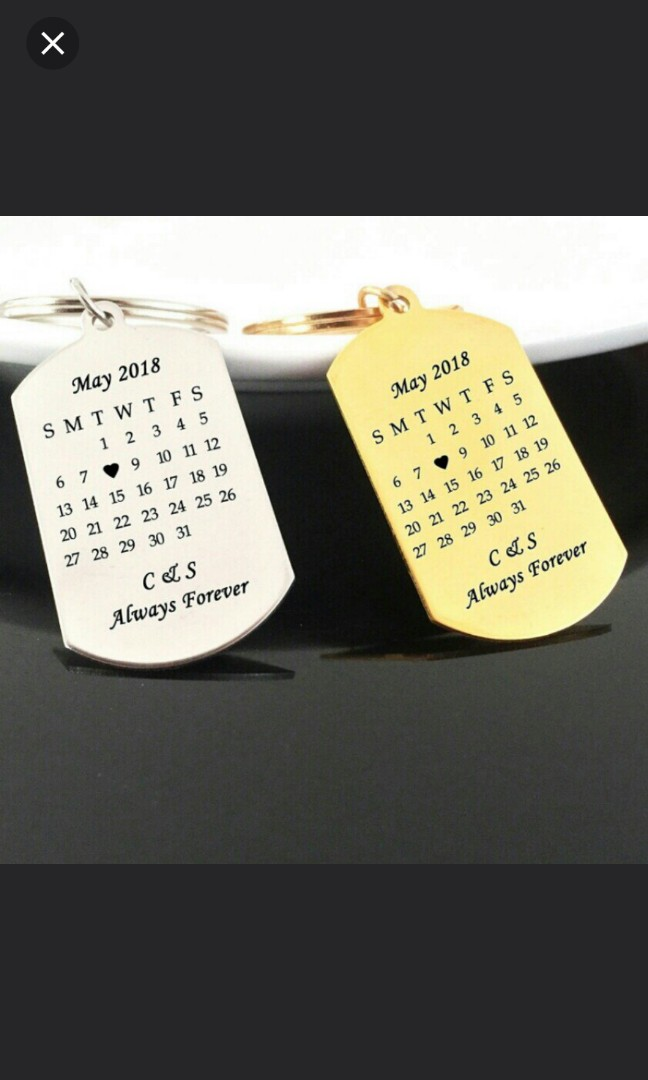 🆒🆕 Customized Hand Stamped Calendar Keychain, Personalized Keyring,  Custom Initial Name&Date Key Chains Gifts for Couples Valentine 1 pc  $26 90,