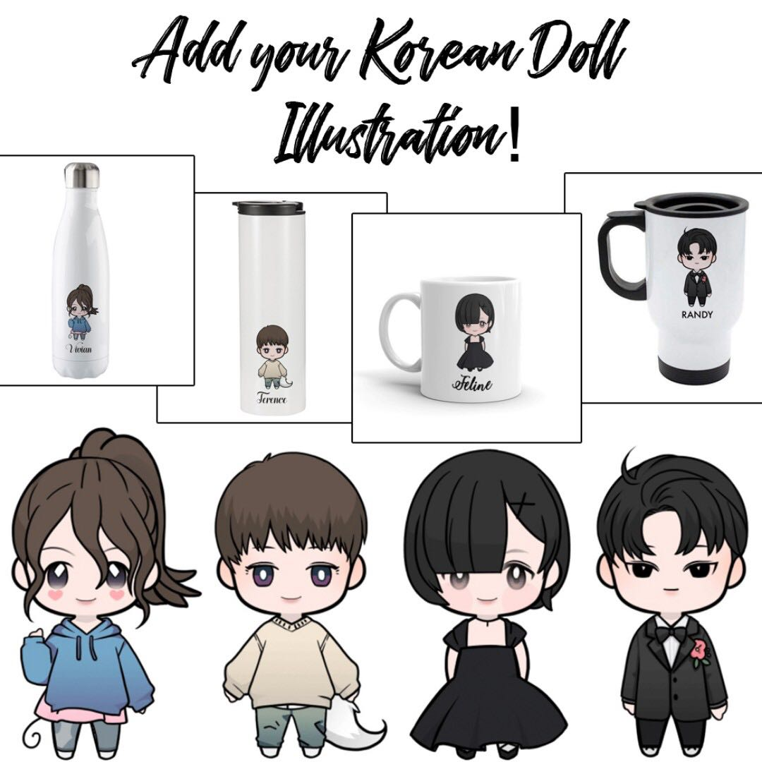Customised Drink Wares Add Your Korean Doll Illustration Ceramic Mugs  Travel Mugs Stainless Steel Tumblers Bottles Flasks Christmas Gift  Personalised