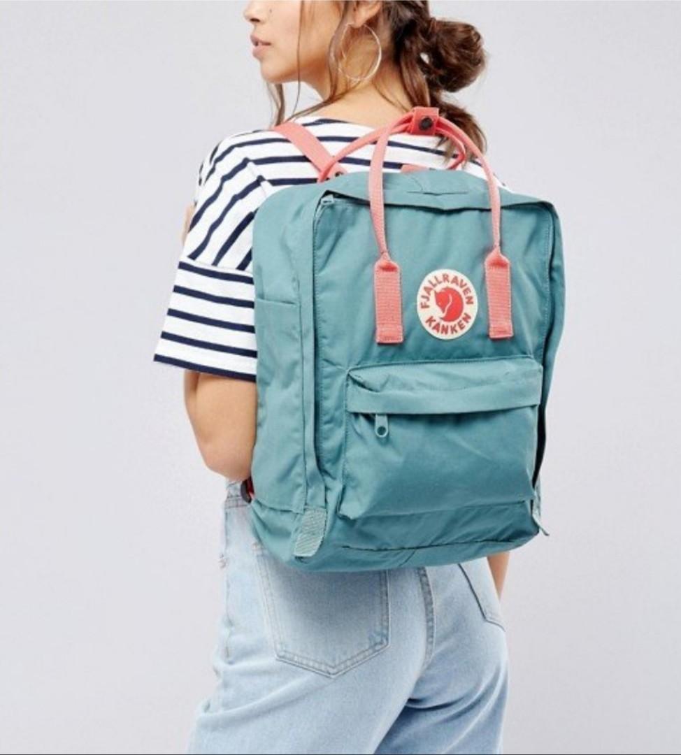 a82a64df51b Fjallraven Kanken Backpack (Classic Frost Green   Peach Pink ...