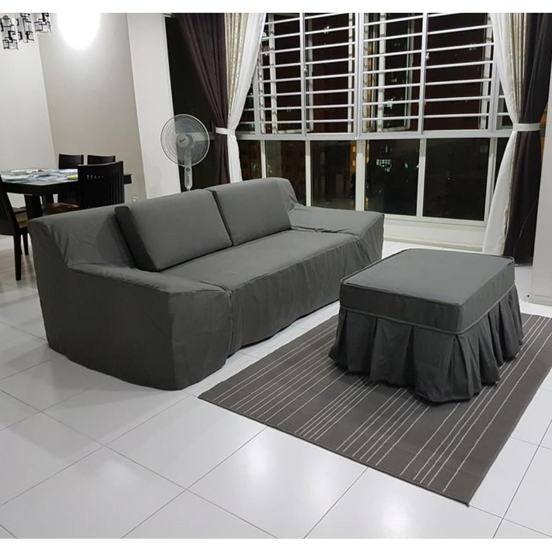 Gray Sofa Cover, Furniture, Sofas on Carousell