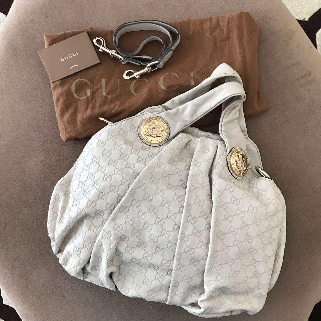7b069ed8ef7 GUCCI Leather Embossed Monogram Hysteria Hobo Bag (As New)