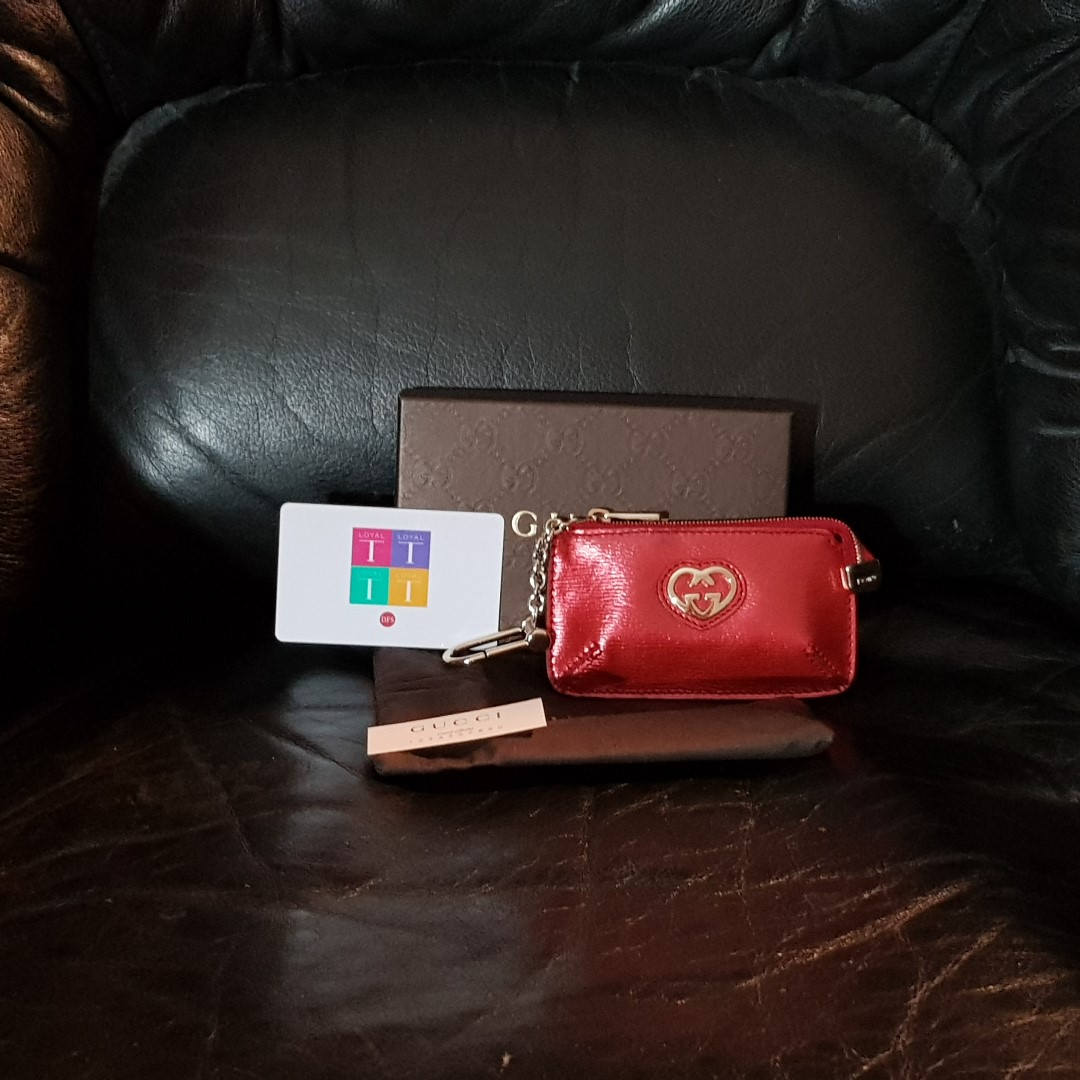 c87b7bce180c GUCCI Red Patent Leather Heart Cles key/coin pouch, Luxury, Bags ...