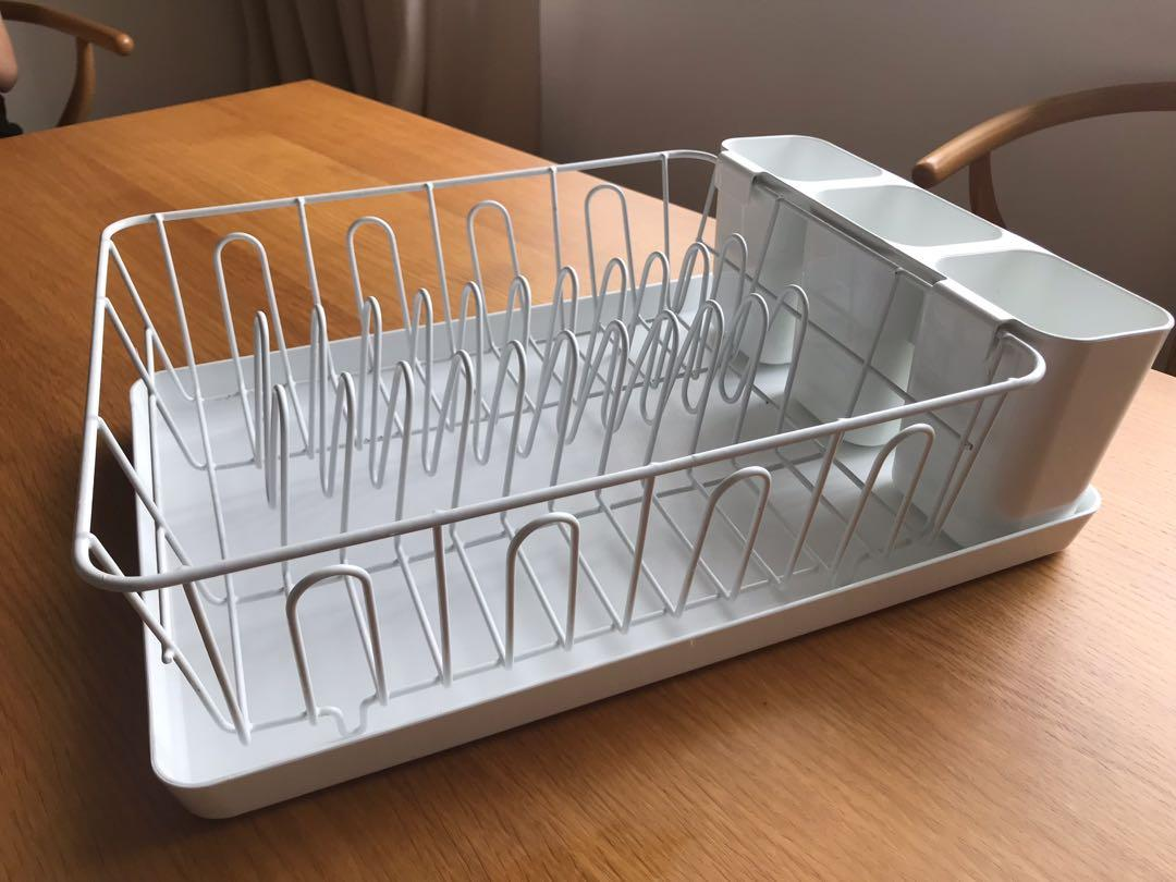 Ikea white dish drainer with tray, Home Appliances