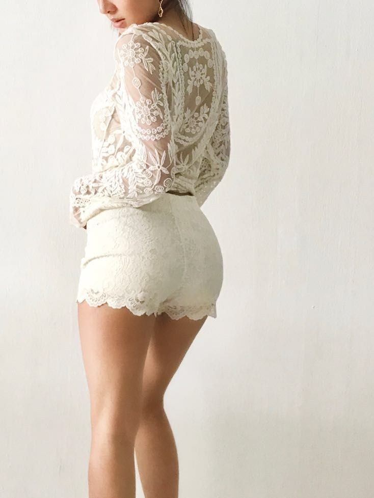 Lace Crochet Long Sleeve Top Womens Fashion Clothes Tops On
