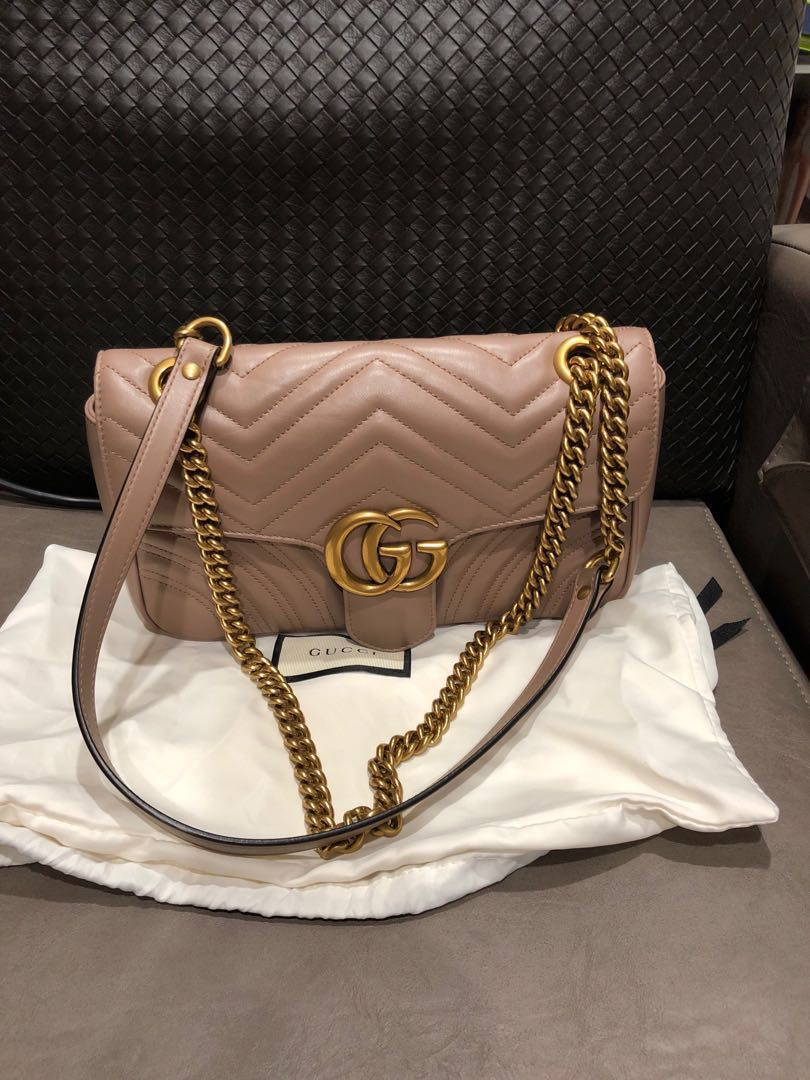 67a742e8396 Lightly used Gucci Marmont metalase shoulder bag in nude and size ...