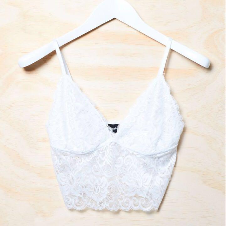 ae103b7913233 Merna White Lace Bralette Top