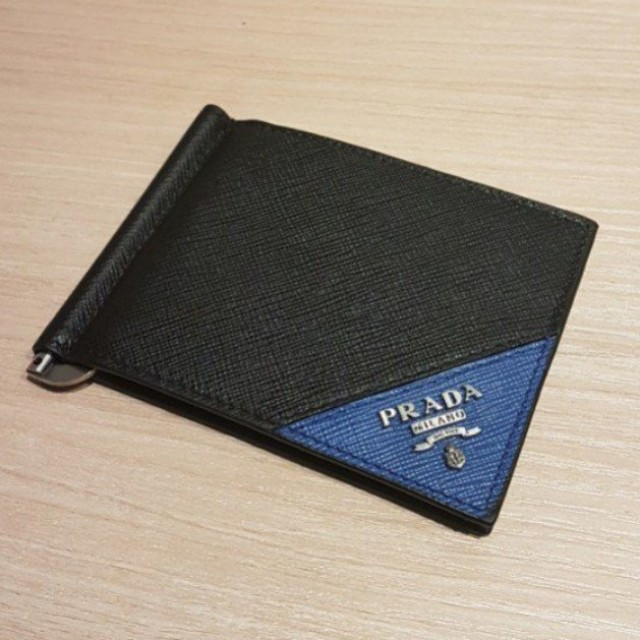 b7356501e52a8a Brand New PRADA Saffiano Metal Bifold Wallet With Money Clip and Box ...
