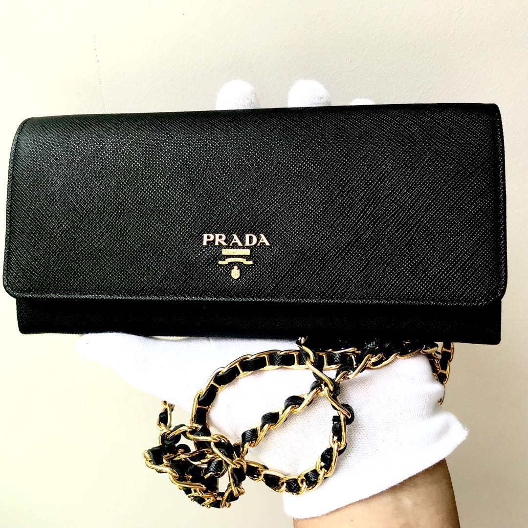 b78546deec0d69 PRADA Black Saffiano Wallet On Chain WOC Sling bag 100% AUTHENTIC+ ...