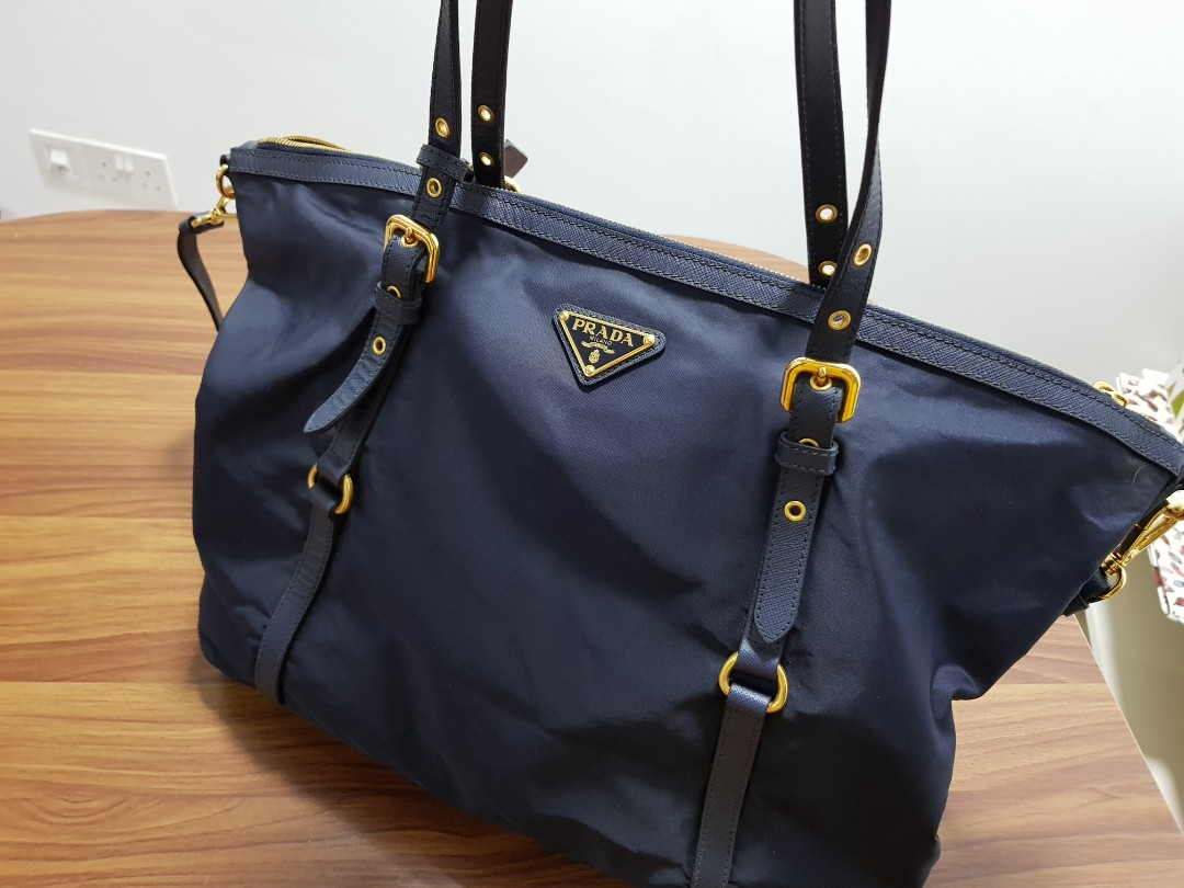 Prada Tessuto Saffiano Nylon Navy Blue Tote Shoulder Bag