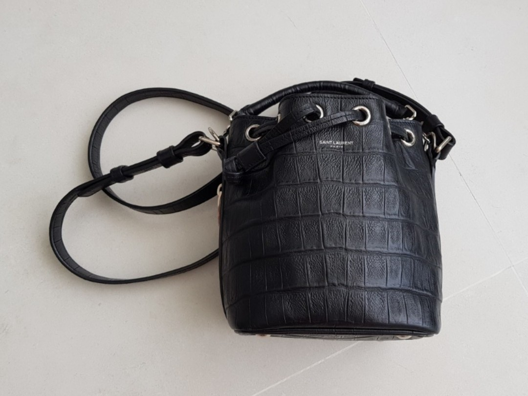 0f59ca300e Saint Laurent Emmanuelle Croc-Embossed Bucket Bag