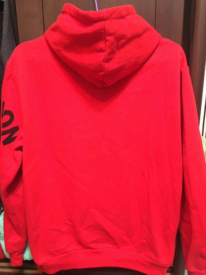 刷毛厚帽T(紅色