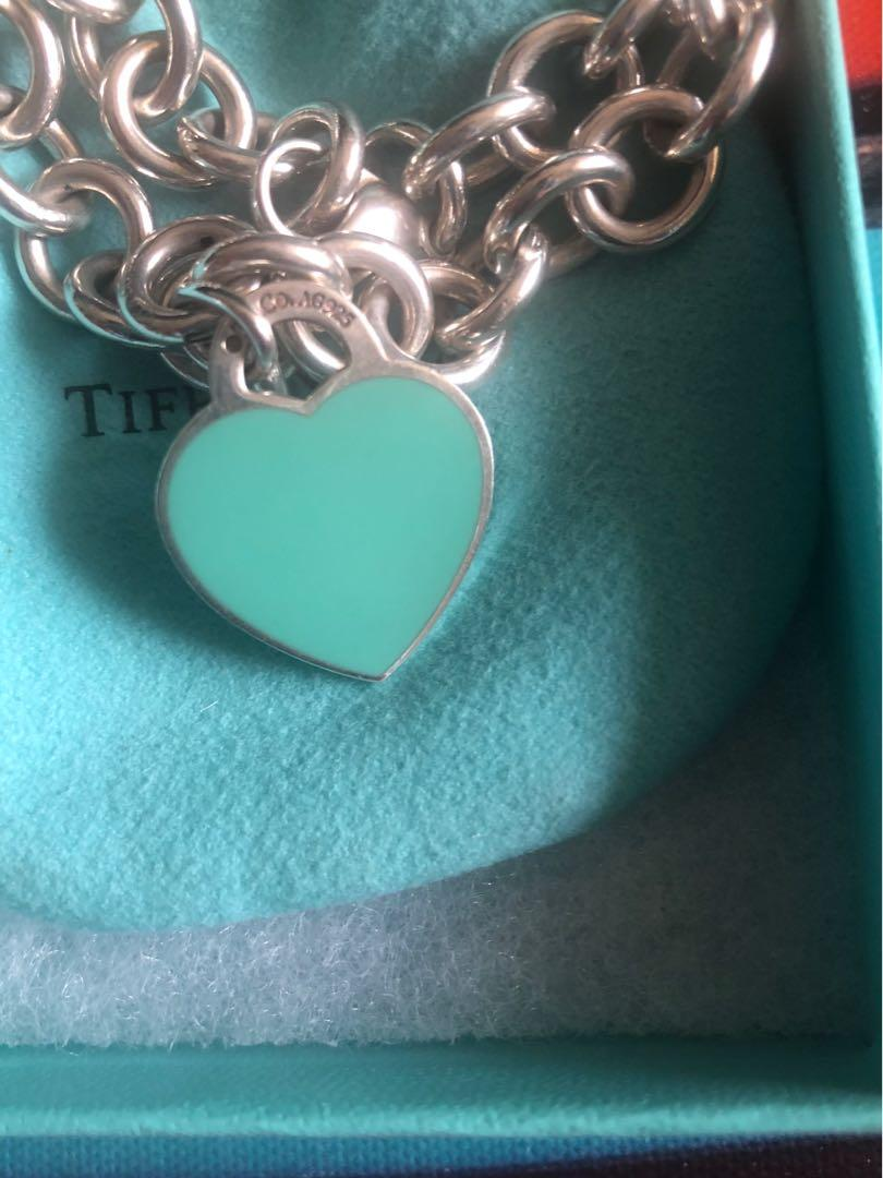 Tiffany & Co Teal Enamel return to Tiffany heart tag pendant on a chain link Necklace