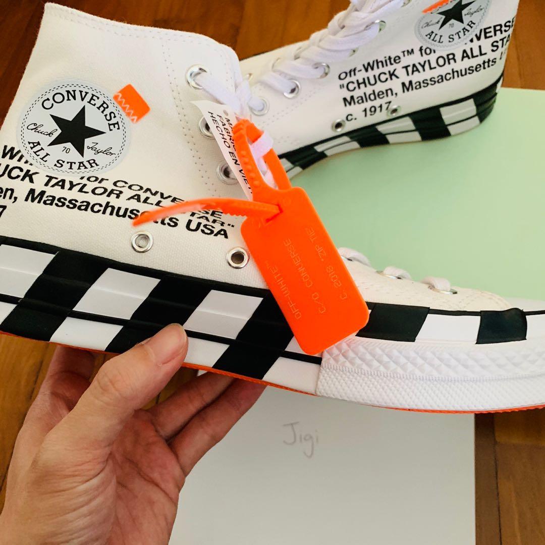 UK 7.5 US 7.5 EU 41 off white converse chuck Taylor all star 70s Hi ... c13a6f376