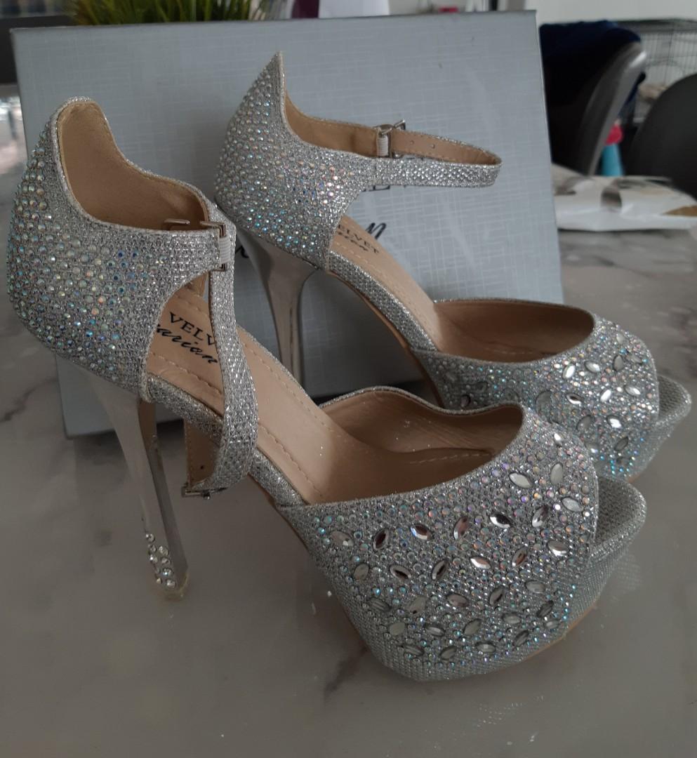feeee021107 Wedding Shoe (Bejewelled High Metallic Heels)