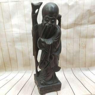 🚚 吉祥物 壽星 木質 老物件 高度30cm