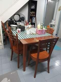 GLASS DINING TABLE WITH CHAIRS SET [HOME CLEARANCE SERIES]