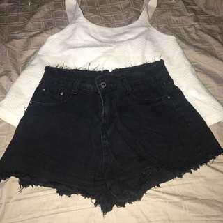 Blavk highwaisted shorts