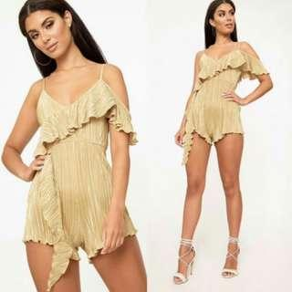Gold Frill Sleeve Pleated Playsuit