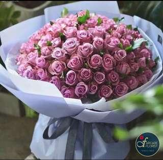 99 Stalks Purple Roses (Fresh Flower Bouquet) | Rose Flower | Flower Bouquet | Flower | Flowers | Fresh Flower | Rose | Roses
