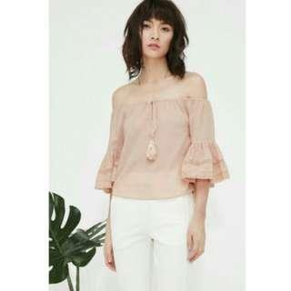 Fashmob Katniss Off-Shoulder Top in nude pink (size S, OOS on site)