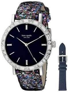 Kate Spade Women's Metro Grand Navy Dial Interchangeable Leather Watch-SILVER