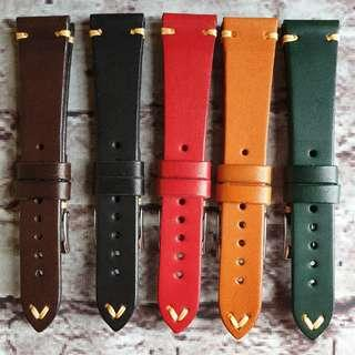 Premium Vintage 20mm Watch Strap Made From Single Piece of Genuine Leather With Simple Stitching