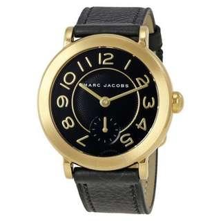 Marc Jacobs Women's Black Dial Riley Stainless-Steel Leather Watch-GOLD