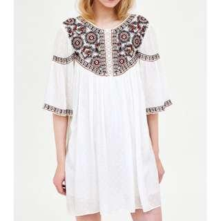 Zara boho embroidered playsuit-dress size S (RRP $59)