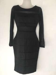 Black vertical Lined Sheer Long Sleeve Bodycon Fitted Midi Dress