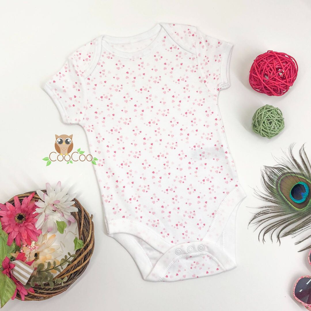 9d3b78ff9 0-12m baby romper onesie white color with little heart pattern ...