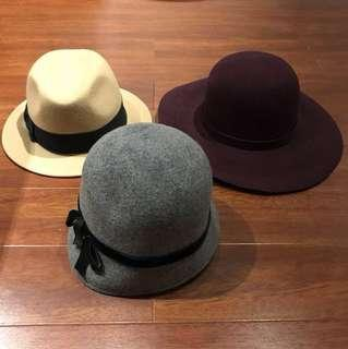 Wool Felt Hats - Lot of 3