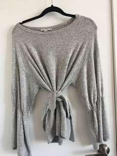 Super soft grey wrap sweater