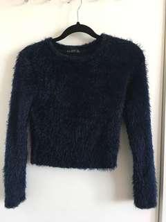 Blue fuzzy crop sweater size S