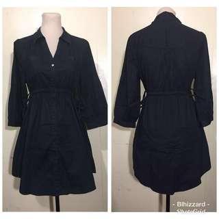 H&M Black Longsleeve Dress with adjustable waist