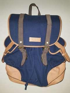 Ted Baker Navy Blue Drspock Canvas Leather Trim Backpack