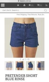 Lee Pretender Shorts Blue Rinse High Waisted