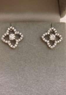 全新18K(750)diamond earrings 63 份高色天然鑽石靚款耳環