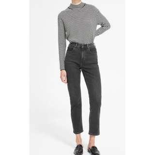 Everlane The Cheeky Straight Jean - Size 26 - Washed Black Colour - High Rise Denim