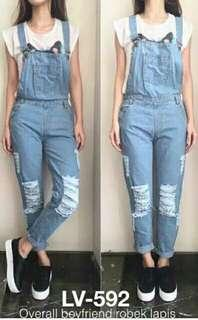 OVERALL JEANS RIPPED SOBEK