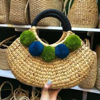 High Quality Rattan Bag With Pom Poms