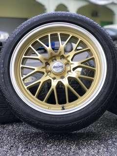 Bbs lm 17 inch sports rim perdana tyre 70%