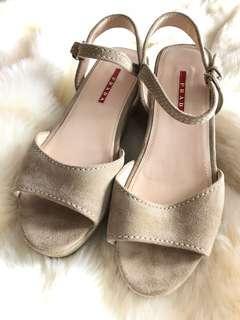Prada Sport Suede Platform Sandal Size 38