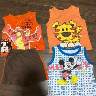 6-12mth bundle, preloved children baby toddler singlet clothes sleeveless cotton material