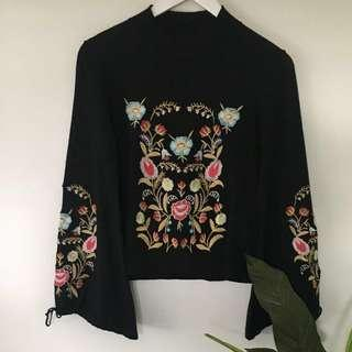 Embroidered thin jersey
