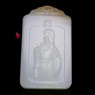 Hetian jade pit Russian material with sugar zhongyi guan gong brand!