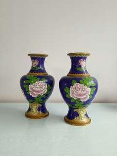 Republic period lndigo blue flowers vase height 26cm perfect condition set of two $500