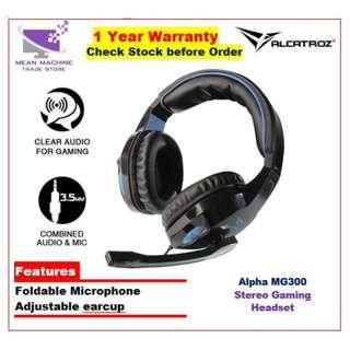 #Alcatroz Alpha MG300 Stereo Gaming Headset Black With Microphone#